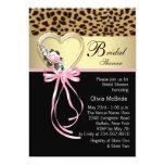 Pink Leopard Black Gold Leopard Bridal Shower Custom Invitation
