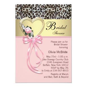 Pink Leopard Black Gold Bridal Shower Invitation