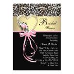 Pink Leopard Black Gold Leopard Bridal Shower Custom Invitations