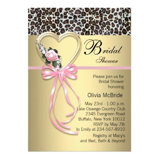 Personalized leopard print bridal shower invitations pink leopard black gold leopard bridal shower custom announcements filmwisefo