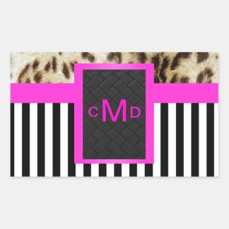 Pink Leopard Black & White Stripes Monogram Seal Rectangular Sticker
