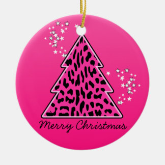 Pink Leopard Cheetah Christmas Tree Double-Sided Ceramic Round Christmas Ornament