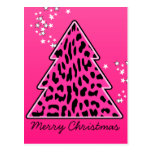 Pink Leopard Cheetah Christmas Tree Postcard