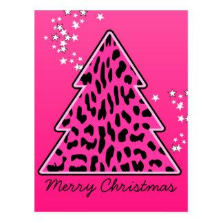 Pink Leopard Cheetah Christmas Tree Postcard