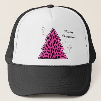 Pink Leopard Cheetah Christmas Tree Trucker Hat