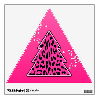 Pink Leopard Cheetah Christmas Tree Wall Decal