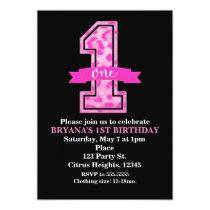 Pink Leopard Cheetah Print One 1st Birthday Party Invitation