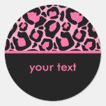 Pink Leopard Classic Round Sticker