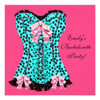 Pink Leopard Corset High Heels Bachelorette Party Invitation