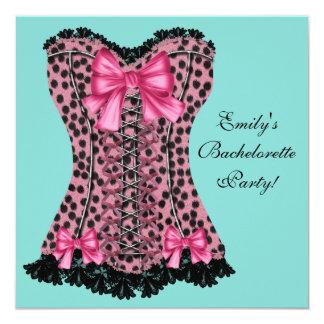 Pink Leopard Corset Teal Blue Bachelorette Party 5.25x5.25 Square Paper Invitation Card