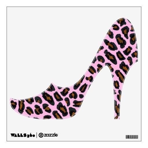 Pink Leopard Fur High Heel Shoe Wall Sticker