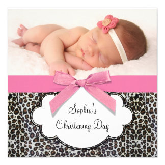 Pink Leopard Girls Christening 5.25x5.25 Square Paper Invitation Card