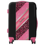 Pink Leopard & Glittery Diagonal Print Luggage
