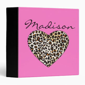 Pink Leopard Heart Binder