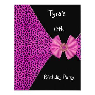 Pink Leopard  Invitation Cute Bow 17th Birthday