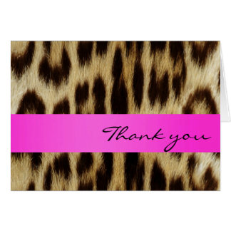 Pink Leopard Monogram Stripes Thank You Note Cards