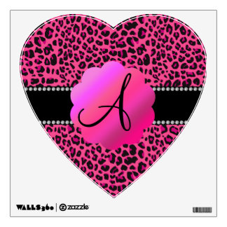 Pink leopard monogram wall decal