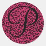 Pink Leopard Monogrammed Stickers