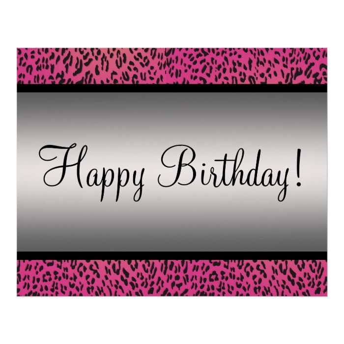 Pink Leopard Party Banner Poster