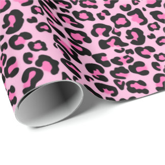 Pink leopard pattern baby girl's wrapping paper
