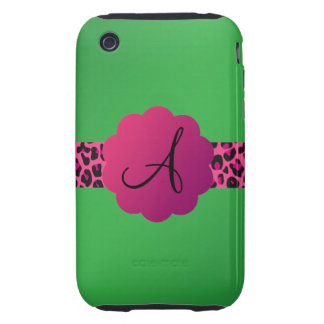 Pink leopard pattern stripe green monogram tough iPhone 3 case