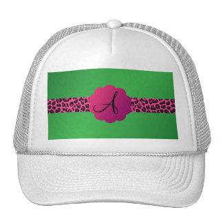 Pink leopard pattern stripe green monogram trucker hats