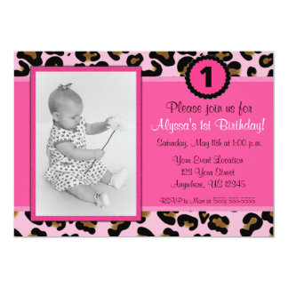 Pink Leopard Photo Birthday Invitation
