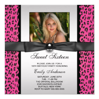 Pink Leopard Photo Sweet 16 Birthday Party Card