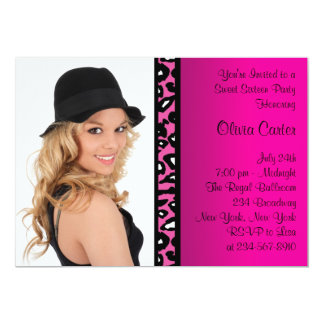Pink Leopard Photo Sweet Sixteen Birthday Party Card