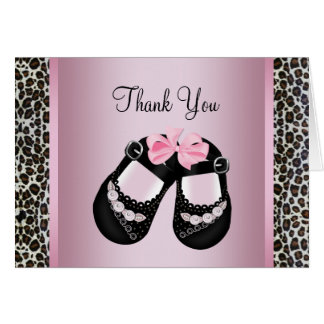 Pink Leopard Pink Black Baby Girl Shower Thank You Greeting Card