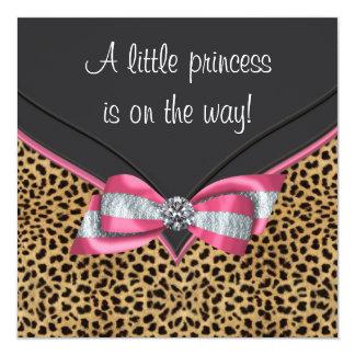 Pink Leopard Princess Baby Shower Card