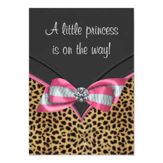 Pink Leopard Princess Baby Shower Card