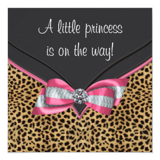 Pink Leopard Princess Baby Shower Personalized Invitation