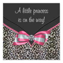 Pink Leopard Princess Baby Shower Invitations