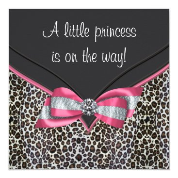 Toddler & Baby themed Pink Leopard Princess Baby Shower Invitations