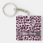 Pink leopard print acrylic key chain
