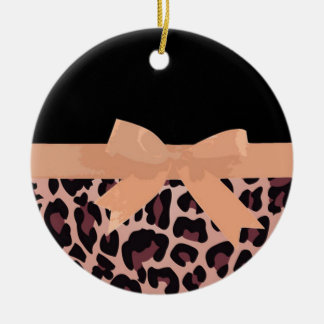 Pink Leopard Print and Bow Pattern Ceramic Ornament