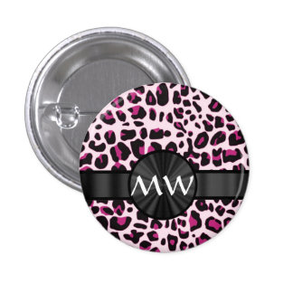 Pink leopard print and monogram button