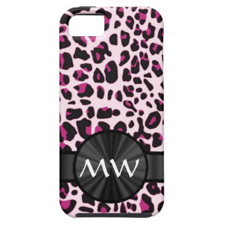 Pink leopard print and monogram iPhone SE/5/5s case