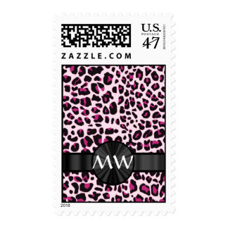 Pink leopard print and monogram postage