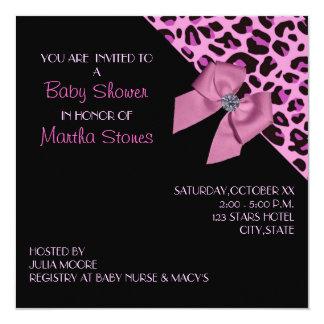Pink Leopard Print Baby Shower Card