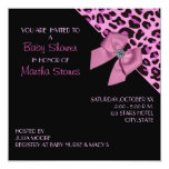 """Pink Leopard Print Baby Shower 5.25"""" Square Invitation Card"""