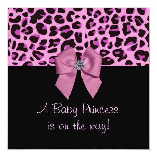 pink leopard print baby shower invitation