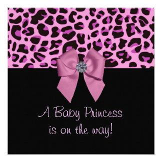 Pink Leopard Print Baby Shower Invite