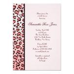 Pink Leopard Print Bridal Shower Left Stripe Card