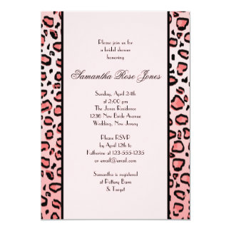 Pink Leopard Print Bridal Shower Two Stripes Card