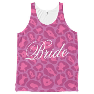 Pink leopard print bride All-Over-Print tank top