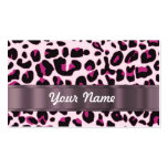 Pink leopard print business cards
