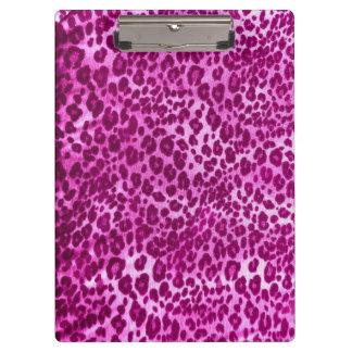 Pink Leopard Print Clipboard