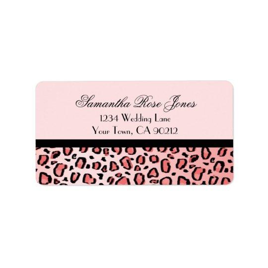 Pink Leopard Print Custom Address Label